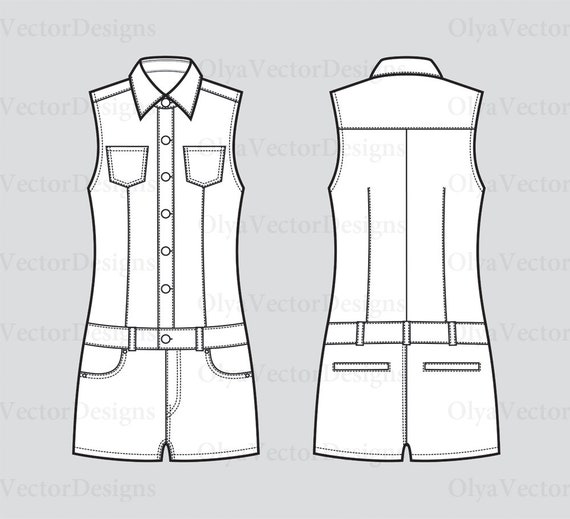 Women's coveralls jean shorts vector fashion flat sketch, Adobe Illustrator design, technical outline, flat drawing, digital, eps,ai,jpg,png