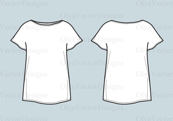 T shirt top vector fashion flat sketch, Adobe Illustrator design, technical outline, flat drawing,digital clip art(eps, ai, jpg, png file)
