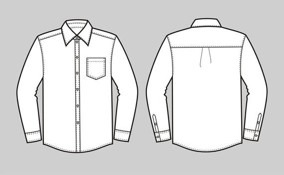Button down shirt vector fashion flat sketch,Adobe Illustrator  design,technical outline,flat drawing, digital clip art (eps,ai,jpg,png  file)