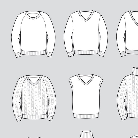 Sweater vector fashion flat sketch, Adobe Illustrator design, technical  outline, flat drawing, digital clip art (eps, ai, jpg, png file)