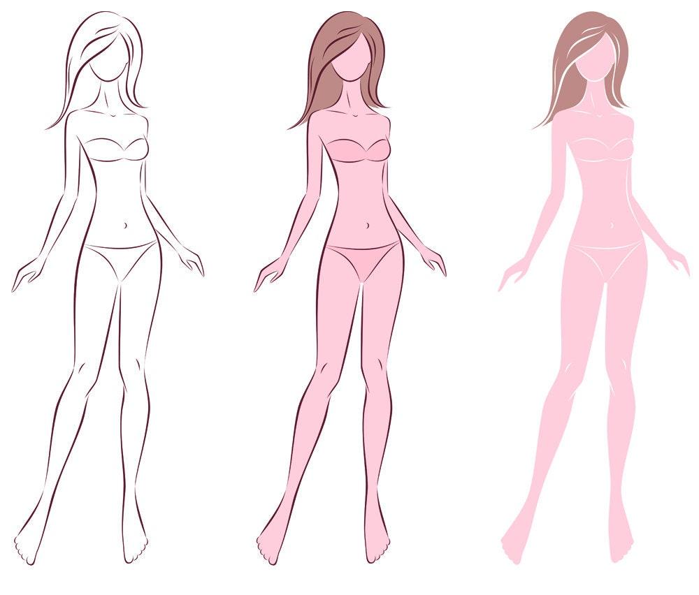 Female Silhouette Vector Sketchfashion Croquiswoman Etsy