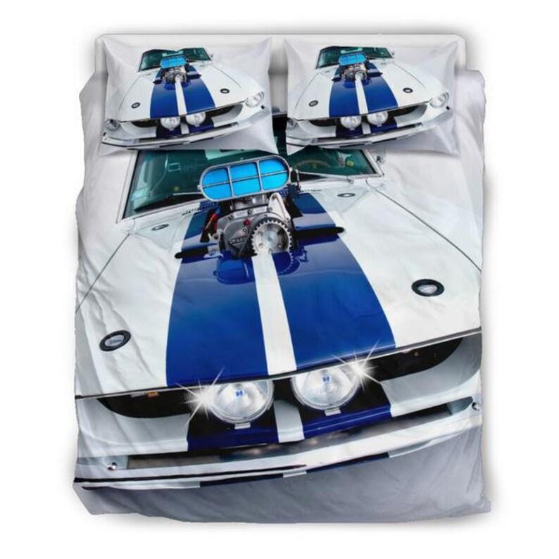 Ford Mustang Motor Oben Quilt Doona Bettbezug Set Twin Königin Etsy