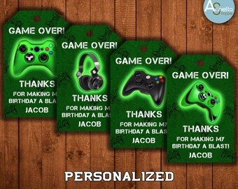 Video Game Party Favor Tags Thank You Tag Zone Loot Bag Birthday Decorations Gamers Printables Personalized