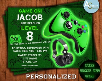 Video Game Birthday Invitation Gaming Party Invitations Invite Xbox
