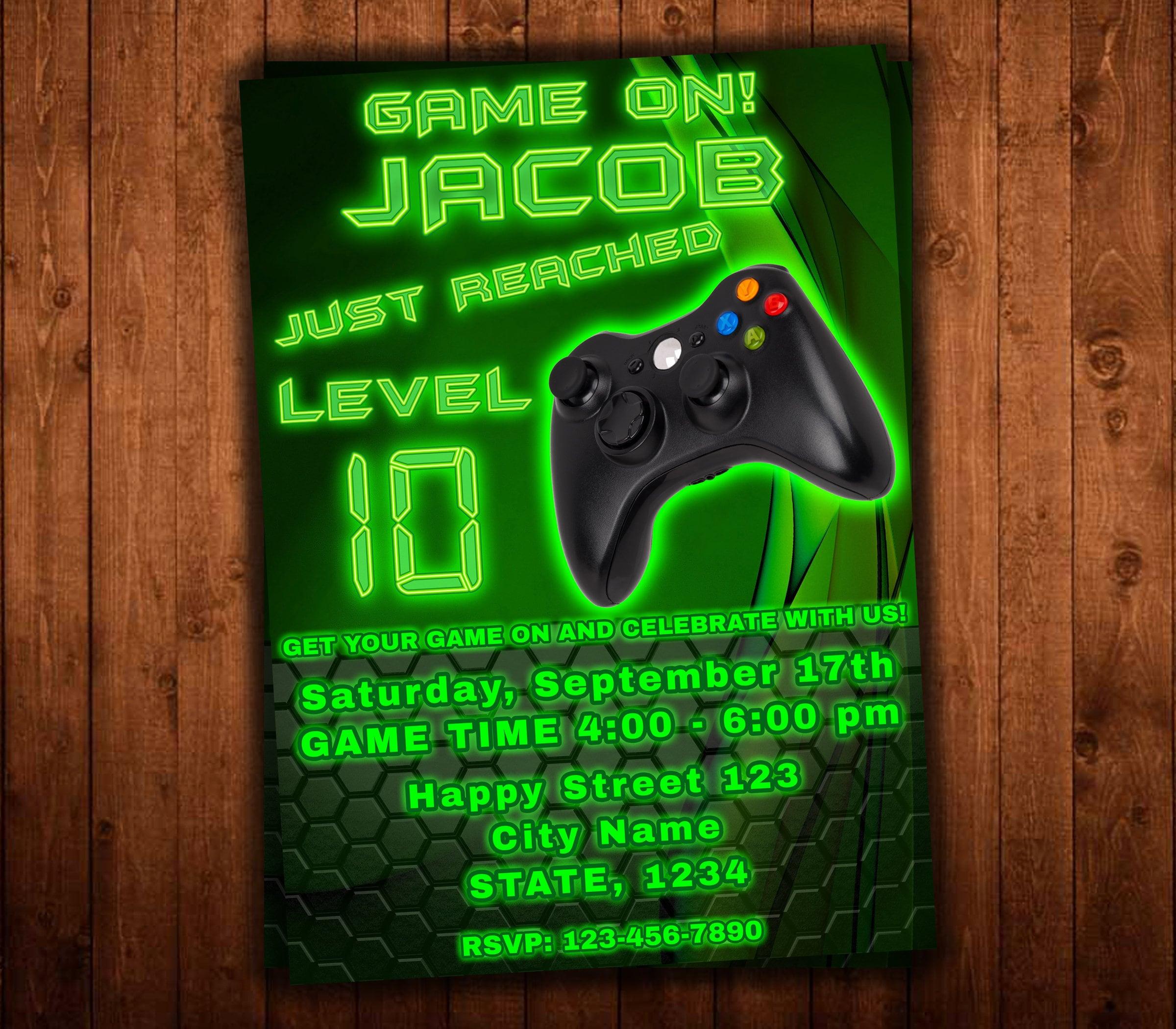 Video Game Party Invitations Invitation Gaming Birthday Invite Xbox