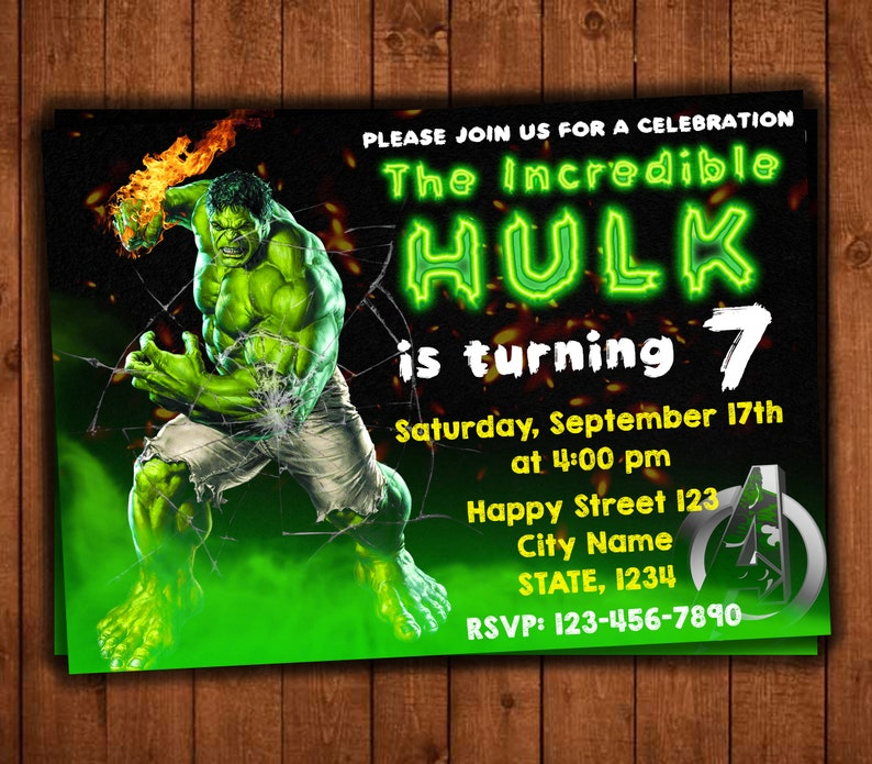 Hulk Birthday Invitations Incredible