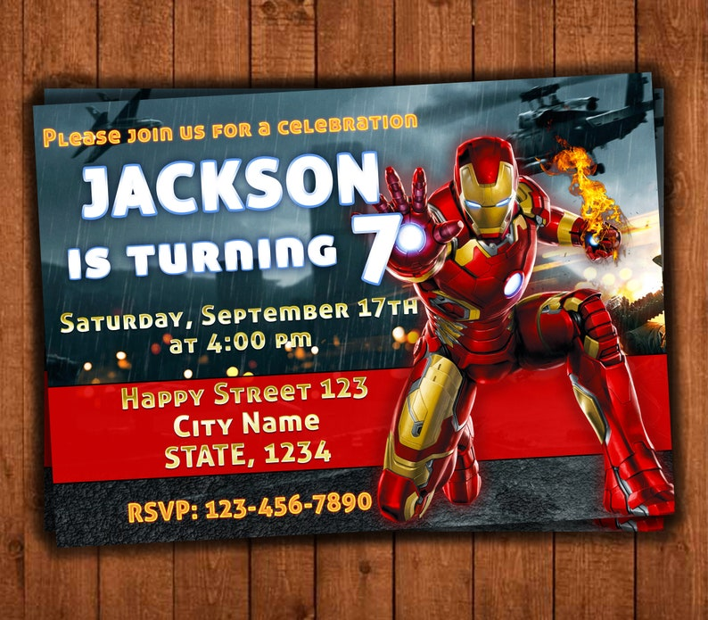 Iron Man Birthday Invitations Party