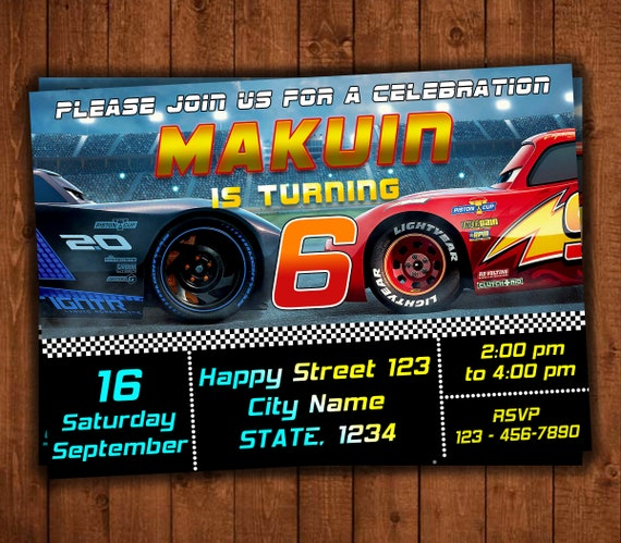 Cars 3 Invitation Birthday Themed