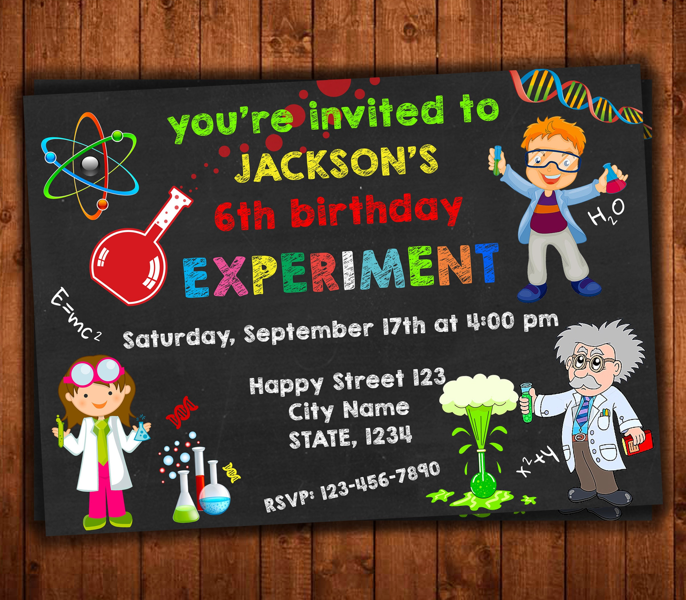Nice Science Birthday Invitation Inspiration - Invitations Design ...