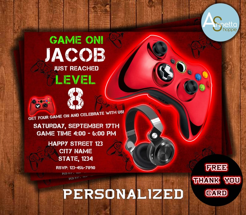 Video Game Birthday Invitation Gaming Party