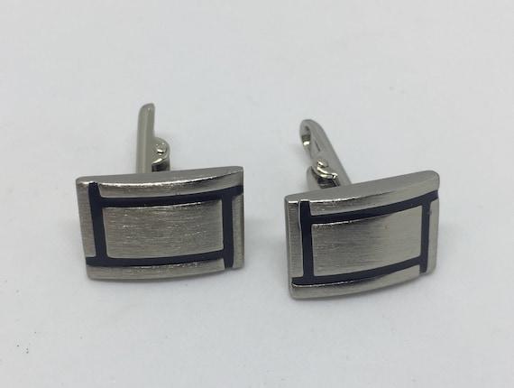 Vintage Square Cuff Links Lattice Silver Tone