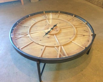 Quick View. Large Retro Style Battery Powered Clock Glass Top Coffee Table  ...