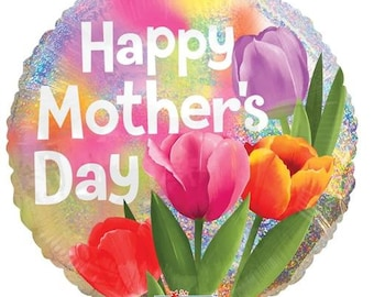 """Happy Mother/'s Day Floral Pink Flowers Party Decoration Foil 18/"""" Mylar Balloon"""