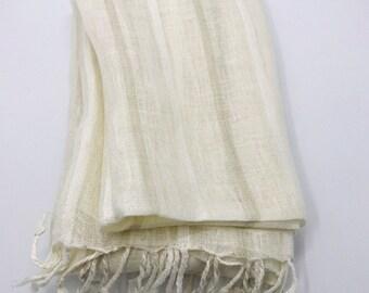 6b39627d65c053 Linen Seidenschal, Linen Seidenschal, Geschenk für Mama, Frauenmode,  umweltfreundlicher Schal, Saisonschal, lässiger Schal, Beige und weißer  Schal