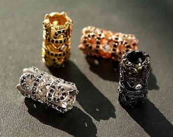 Handmade--4pcs 8X1210X16mm CZ Micro Pave Diamond carvedbicone diamond cone beads,CZ pave findings charm jewelry spacer connector