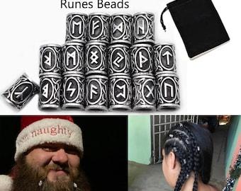 24Pcs/Kit Norse Vikings Runes Beads for Hair Beards Paracord Pendants & Bracelets Maiking DIY Loose Spacer Beads Set For Men Women With Bag