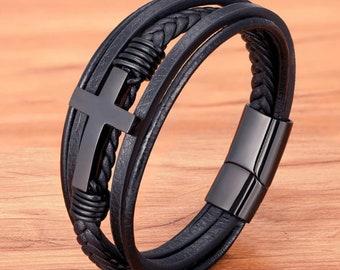 Cross Style Multi Layer Design Leather Bracelet,Fashion Mens Leather Bracelet,Punk Classic Bangle Gift For Boyfriend Gift Valentines Present