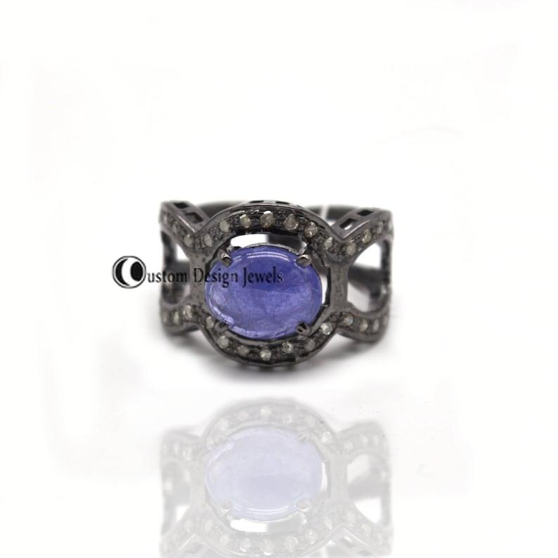 Gemstone Ring Jewelry Diamond Ring Vintage pave diamond Baguettes and Tanzanite gemstone rings Pave Diamond Ring 925 Silver Ring Jewelry