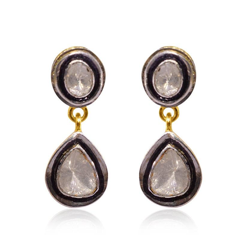 526fbd0018aff rose cut polki diamonds, handcrafted tear drop earrings, Victorian Jewelry  Earrings 925 Silver Polki Earring Jewelry