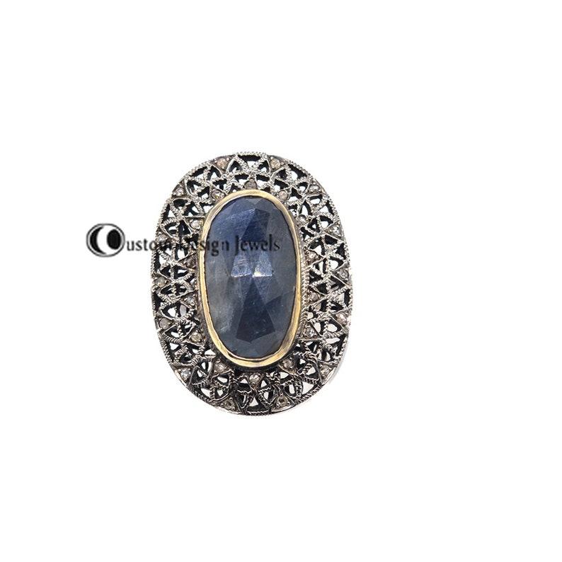 Gemstone Bridal Ring Diamond Oval Ring Gemstone Ring 14K-Gold-Plated Ring Blue Sapphire Ring Diamond-Eternity Sapphire Gemstone Ring