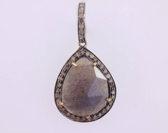 925 sterling silver pave diamond pendant jewelry, gemstone pendant