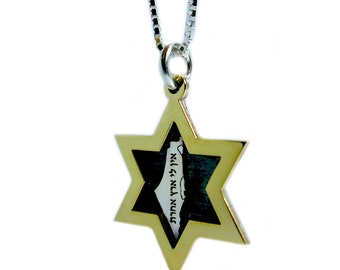 No Other Land: Sterling Silver and Gold Star of David Necklace, Map of Israel