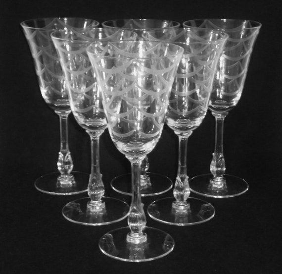 """FOSTORIA CRYSTAL ROSE PATTERN PAIR 6 3//4/"""" WATER GOBLETS EXCELLENT!"""