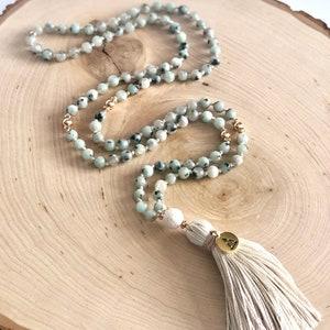 108 Mala Bead Necklace MeditationYoga Necklace Diffuser Mala Necklace Lava African Turquoise