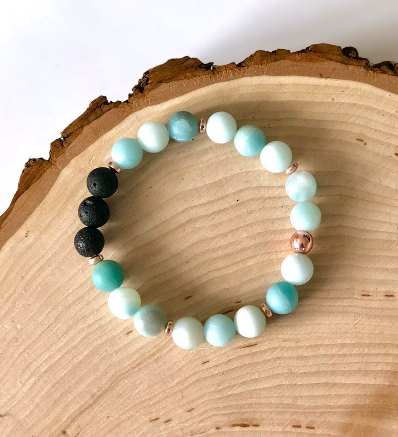 Mala bracelet Essential oil diffuser bracelet meditation beads Mala bead bracelet yoga bracelet amazonite hematite lava rose gold 108 mala