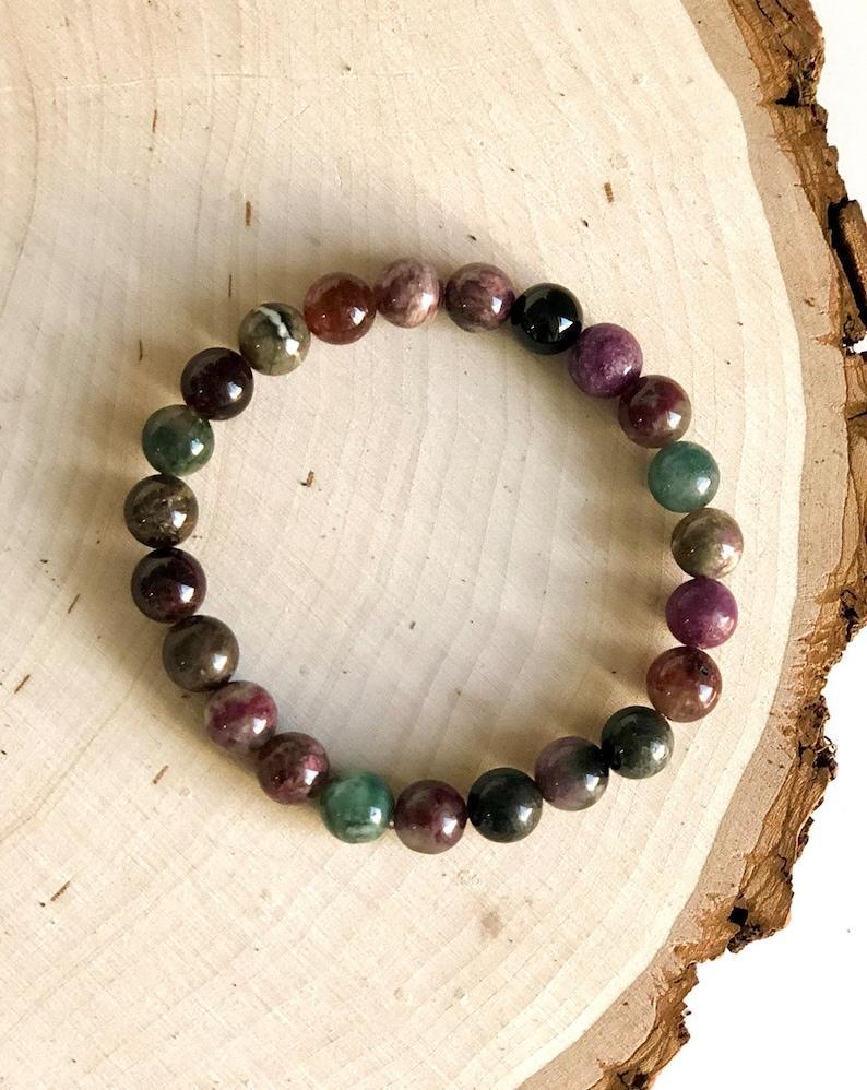Mala Bracelet Multi Coloured Tourmaline Wrist Mala Beads YogaMeditation Bracelet