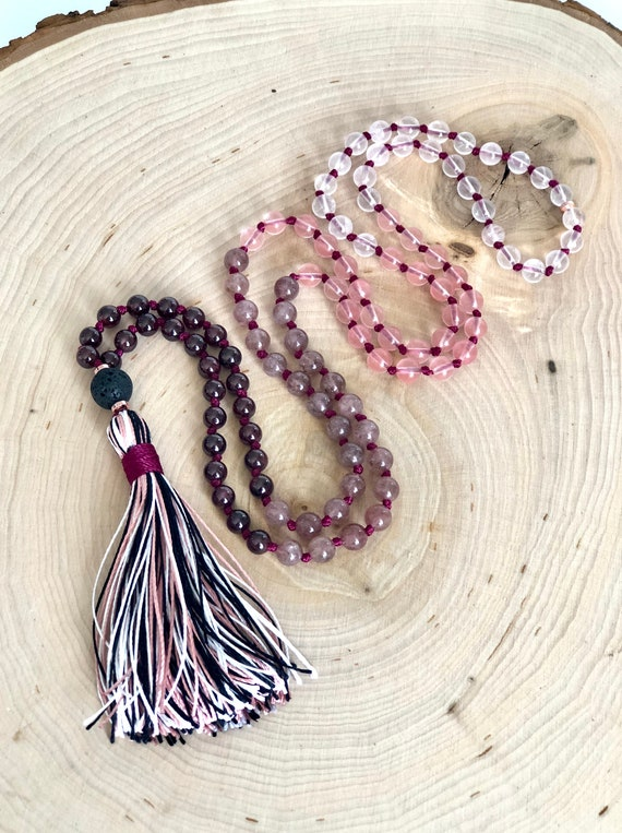 108 Mala Bead Garnet Diffuser Mala Necklace Rose Quartz MeditationYoga Necklace Strawberry and Cherry Quartz