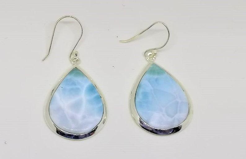 Larimar Earrings,Dangle Earrings Caribbean Blue Ocean blue Gemstone Silver Jewellery with stone 925 Silver,925 Silver Jewellery