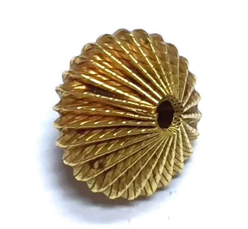 Fine 1 Pcs 18K Solid Gold Hand Made 11x13mm Bead.