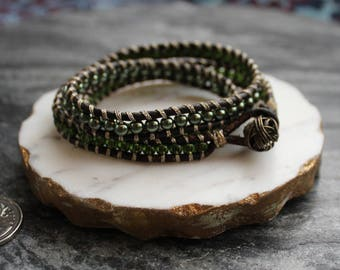Genuine Brown Leather, Green, and Gold Wrap bracelet