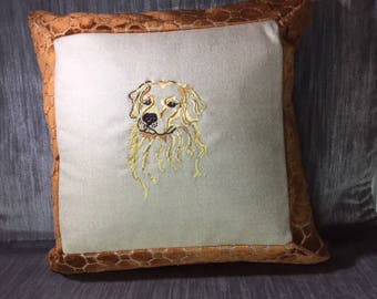 Golden Retriever embroidered pillow, cashmere center, velvet embossed surround