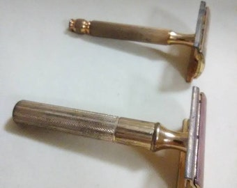 6c34f608bcd Vintage 1934-1949 Gillette Gold Brass tone 3 piece Safety Razor. Set of 2.  Stamped Made in USA. Men s accessories.