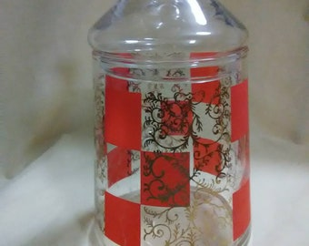 Vintage Clear And Red Glass Canister With Lid. Thin Glass. Storage Container .