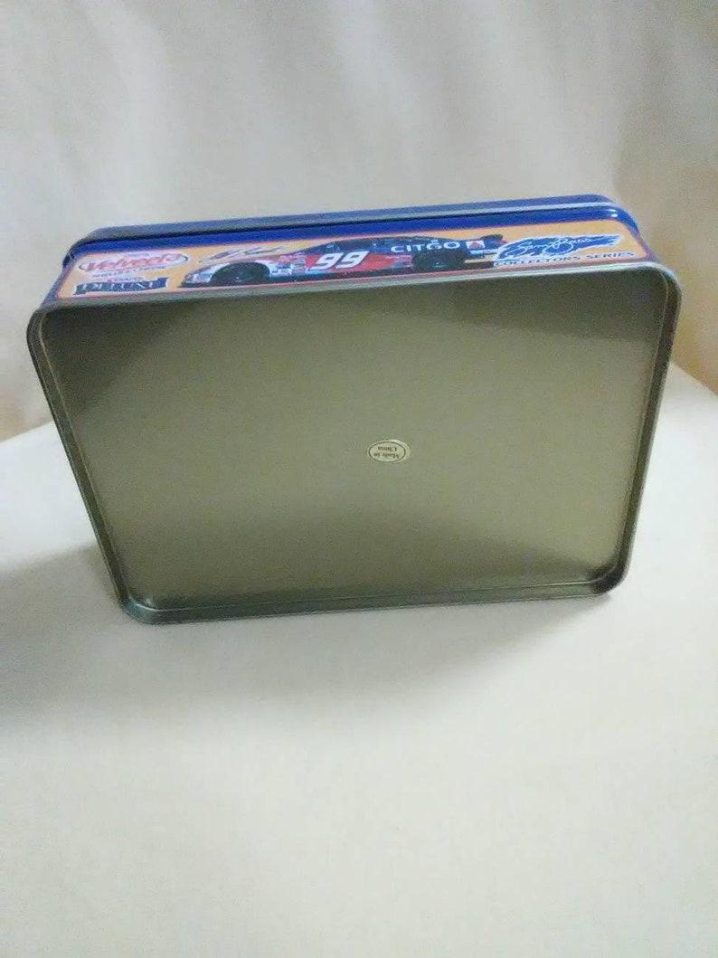 Collectible Tin Can Vintage NASCAR Sam Bass Collectible Empty Metal Tin Jeff Burton 99 Citgo Kraft Velveeta Cheese