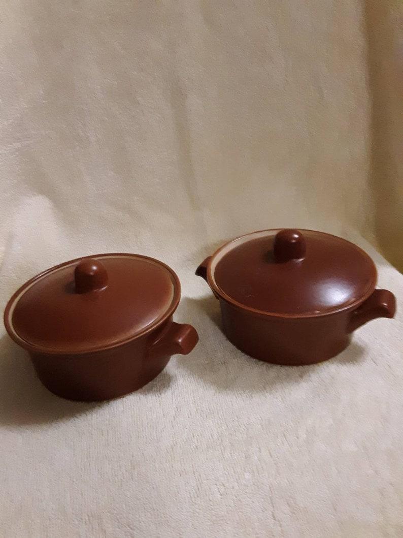 Vintage  Mini 8 oz Brown Pottery Baking Dish set of 2 Cookware Bakeware