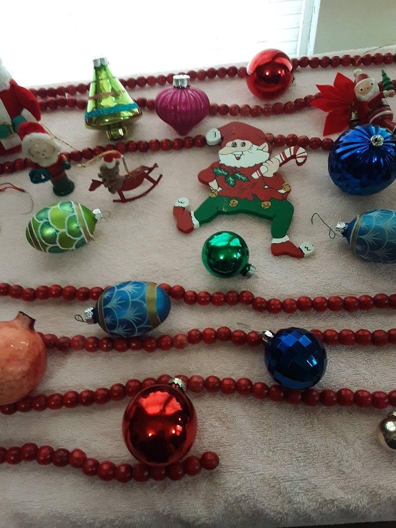 Baby Jesus Vintage Christmas Ornaments Homco 5552 and Jasco 1978 and Red Wooden Beads 29