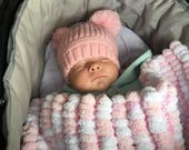 Pom Pom Baby Blanket Car Seat Moses Basket Pram Cot PomPom Blanket Marshmallow Blanket Pink White New Baby Baby Shower
