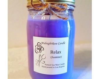 Relax (Jasmine) Candle - Stress Relief Scented Candle - Therapeutic Candle - Hand poured Natural Soy Wax - Mason Jar Candle (8 oz & 16 oz)
