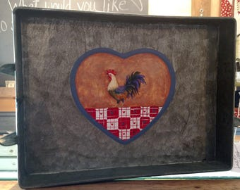 Tin Tray with Hand Painted Rooster