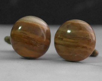 Natural Gemstone Cufflinks - Brown Chalcedony