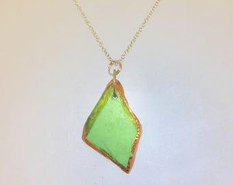 Copper Sea Glass, Sea Glass Pendant, Sea Glass Necklace, Organic Necklace, Beach Glass Necklace, Silver Sea Glass, Sea Glass Jewellery,jewel