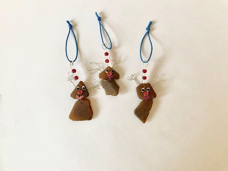 Pack of 4 Metallic Copper Chocolate Rudolf the Reindeer Tree Baubles Bronze