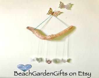 Wind Chime, Driftwood Sea Glass Shell Mobile, Nautical Decor, Beach Theme, made in Cornwall UK seaglass windchime