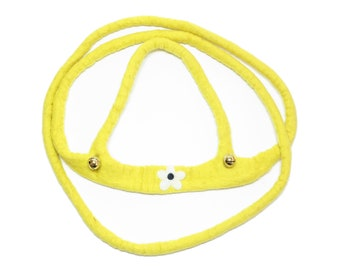 hand felted horse leash yellow/blossom, 100% new wool, horse harness for kids, reins, movement play, role play, outdoors, toy