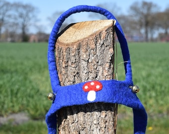 hand felted horse leash blue/mushroom, 100% new wool, horse harness for kids, reins, movement play, role play, outdoors, toy
