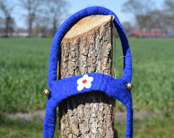 hand felted horse leash blue/blossom, 100% new wool, horse harness for kids, reins, movement play, role play, outdoors, toy